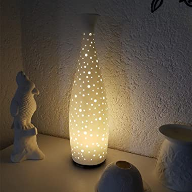Joly Joy Ceramic Essential Oil Diffuser, Decorative Aromatherapy Humidifier w/Hand-Crafed White Porcelain Vase Cover & Pretty LED Light, Premium Birthday Gift for Women/Men