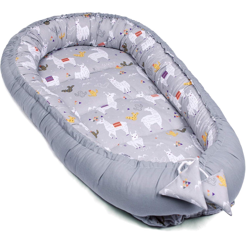 herausnehmbarer Baby-Matratze Nackenkissen Baby Ausstattung-Set 5tlg B/ären 100/% EU Baumwolle OEKO TEX Kuschelnest Babynest 95x55cm Flachkissen Kuscheldecke