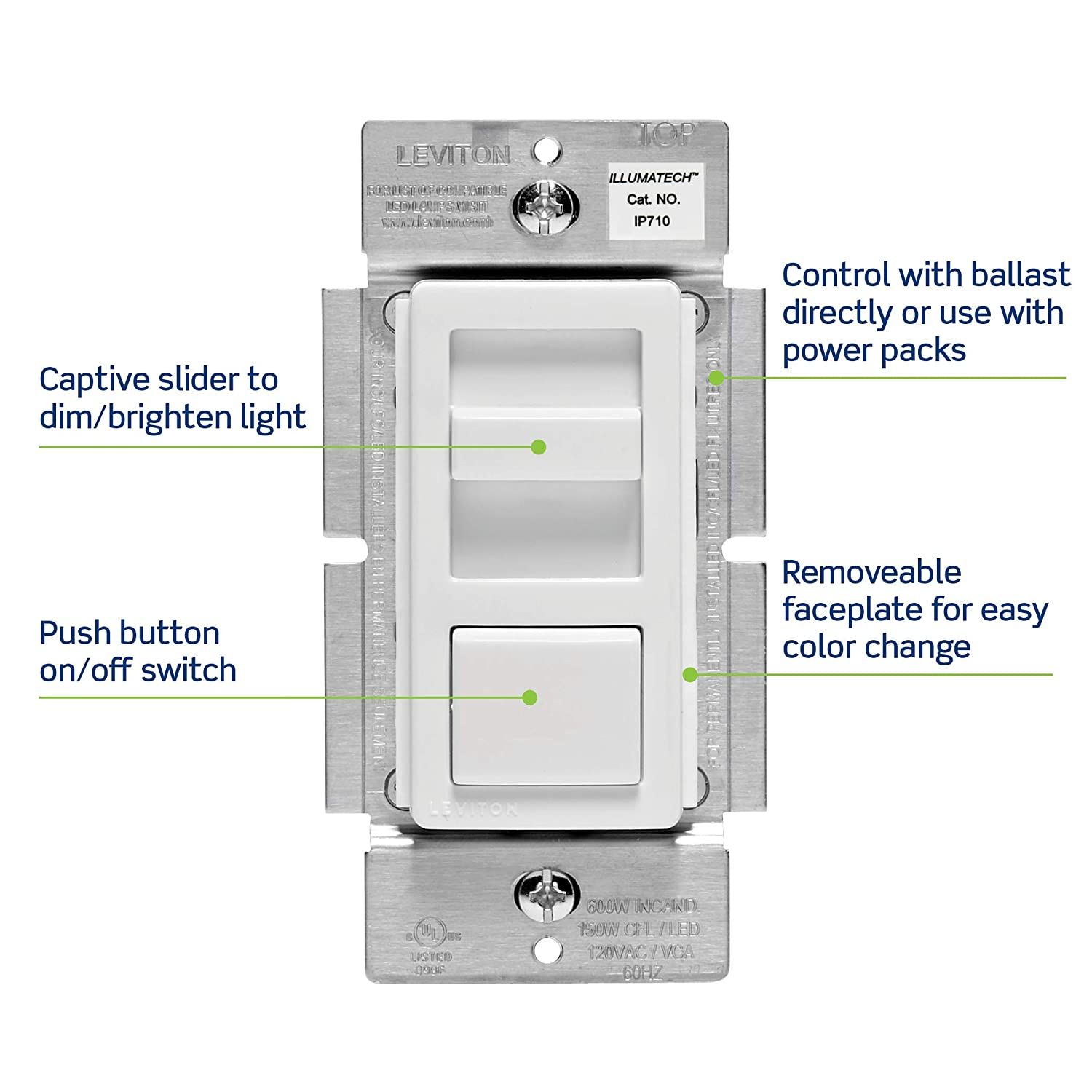 leviton ip710-lfz illumatech slide dimmer for led 0-10v power supplies,  1200va, 10a led, 120/277 vac, white w/ color change kits included - wall  dimmer
