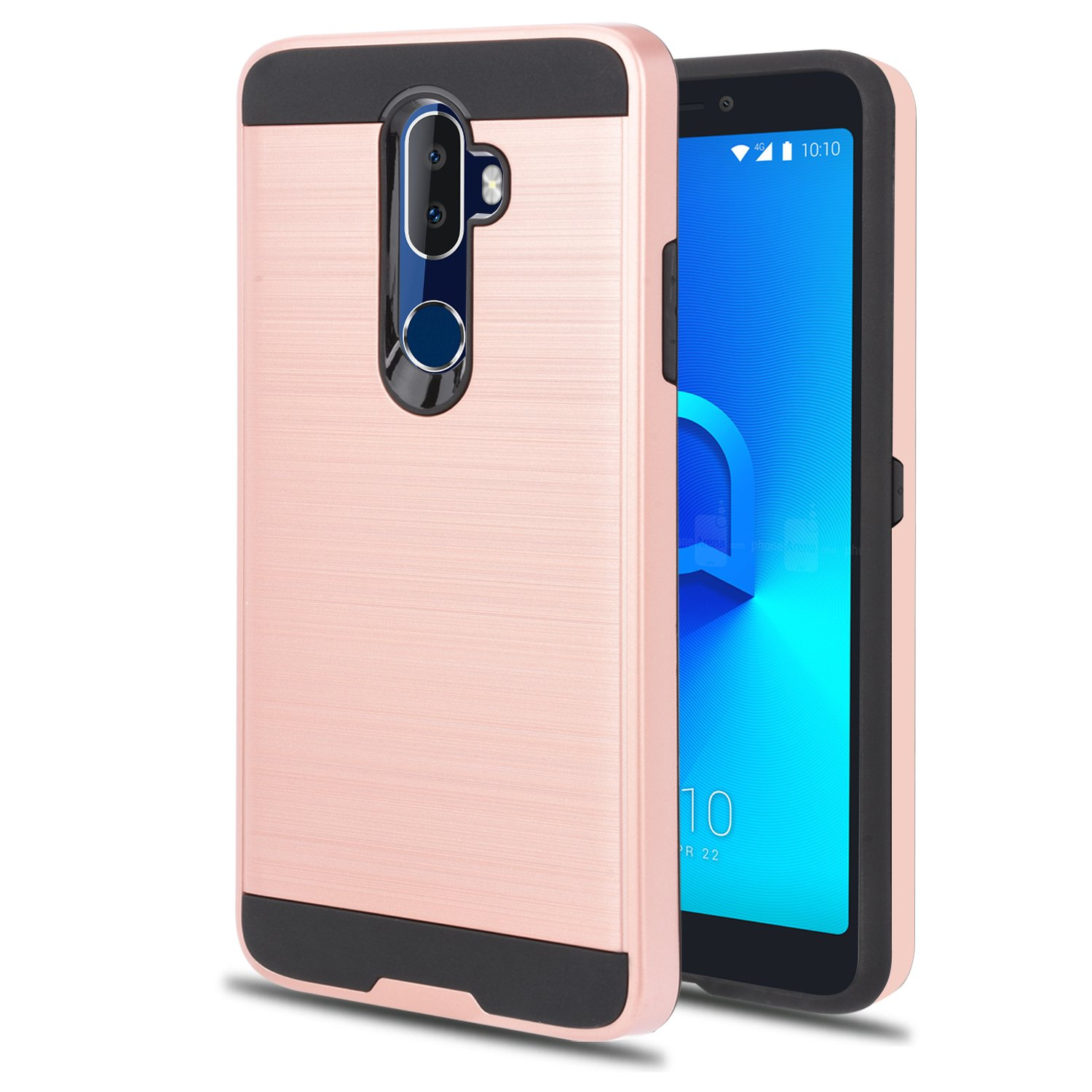 Alcatel 3V Phone Case With Phone Stand,Ymhxcy [Metal Brushed Texture]  Hybrid Dual Layer Full-Body Shockproof Protective Cover Shell For Alcatel  3V-LS