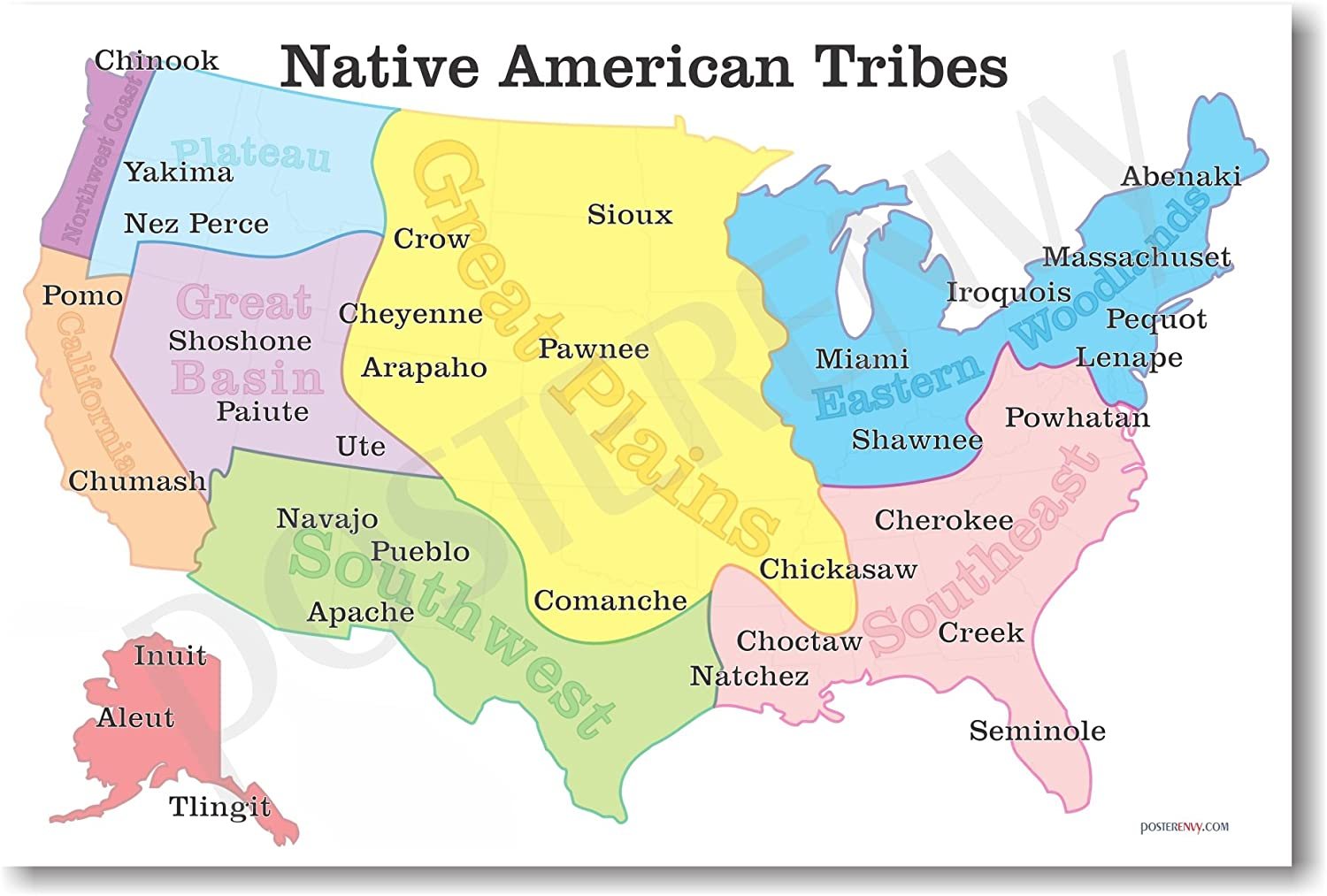 Native American Map Of The Us Amazon.com: Native American Tribes Map   US History Classroom