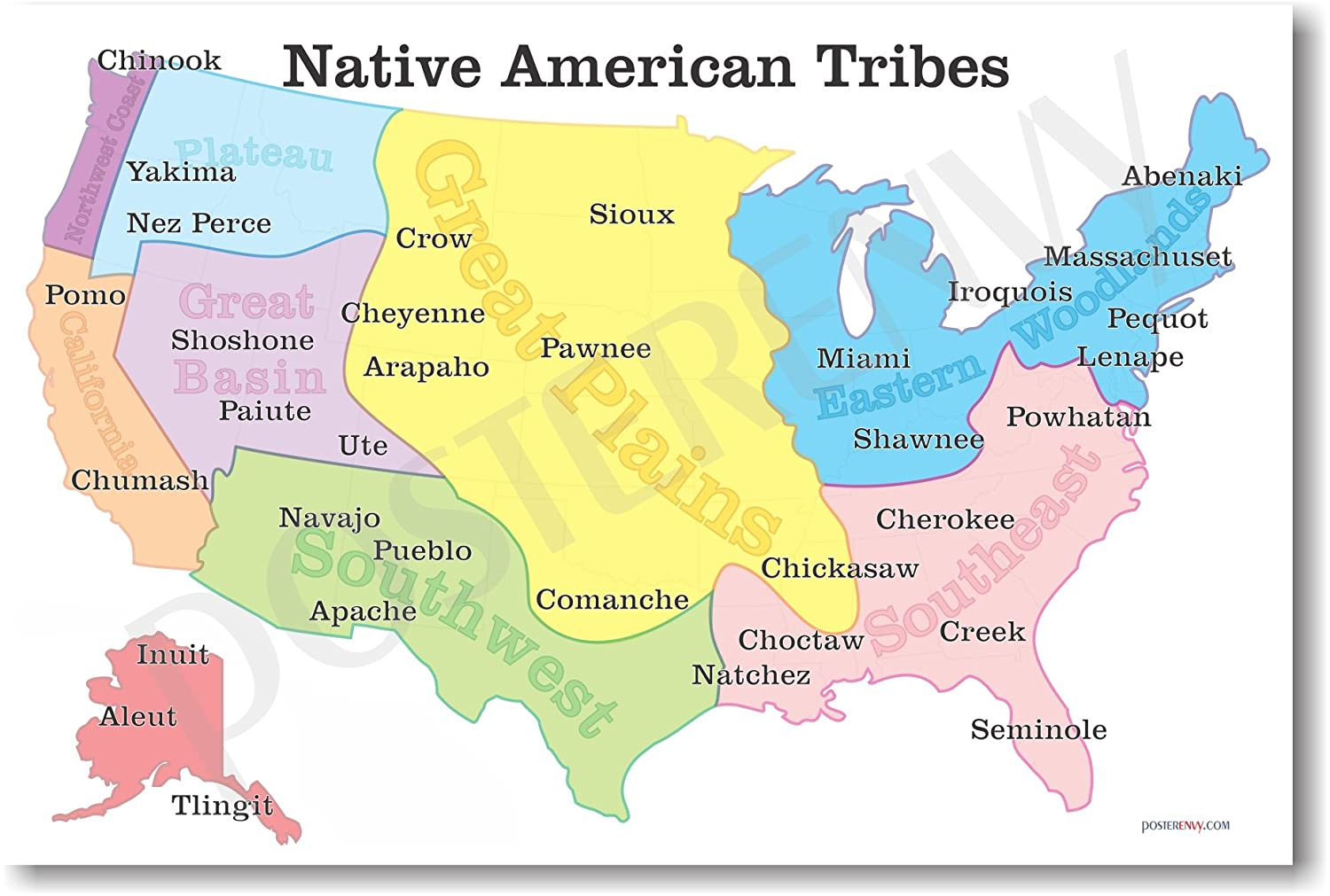 amazon com native american tribes map us history clroom school poster by posterenvy prints posters prints