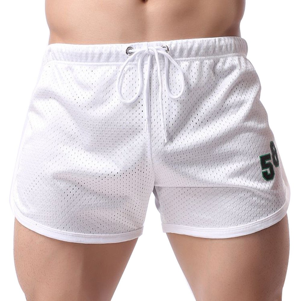 Shybuy Men's Sports Fitness Breathable Casual Shorts (L2, White)