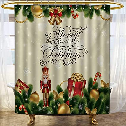 ChristmasShower Curtains Digital PrintingNoel Season Ornaments With Birch Branch Cute Ribbons Bells