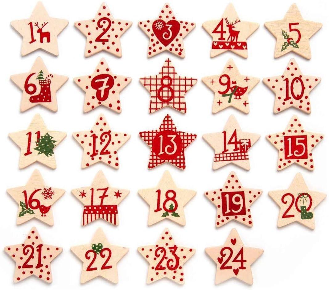 Conjunto de n/úmeros de madera 1-24 para Navedad verde crema Fieltro Calendario de Adviento aprox 30 mm en tonos rojo