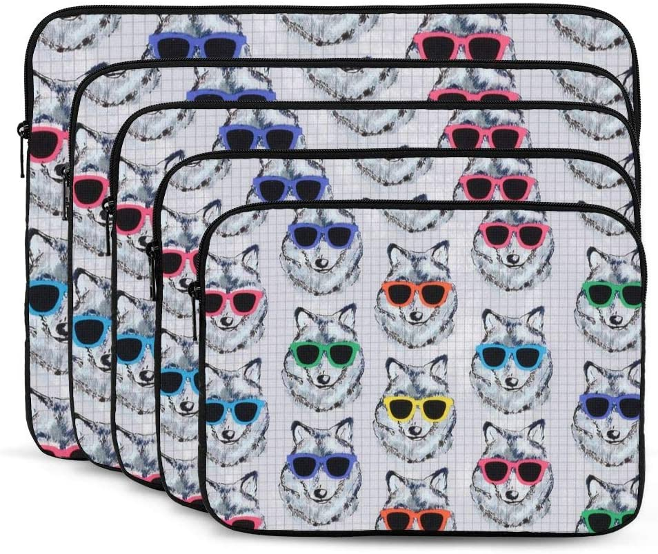 Computer Protective Bag Shock Resistant Notebook Briefcase Wolf with Sunglasses-15392491 Laptop Sleeve 17 inch Tablet Carrying Case for MacBook Pro//MacBook Air//Asus//Dell//Lenovo//Hp//Samsung//Sony