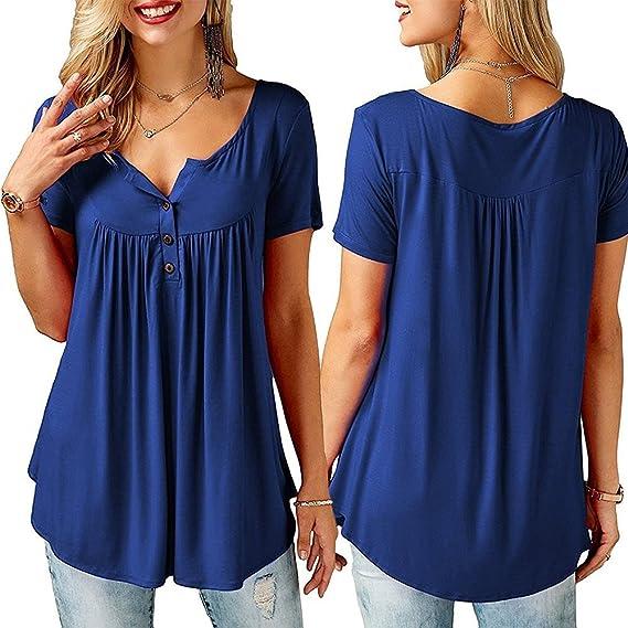 Aunis Blusa Mujeres, Camiseta de Mujer con Botones Verano Redondo Manga Corta Blusa Tops Casual con Pliegues Sólidos: Amazon.es: Ropa y accesorios