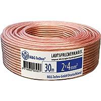 30m Câble de haut-parleur 2x4mm² CCA rond transparent marquage de longueur, Model 4661