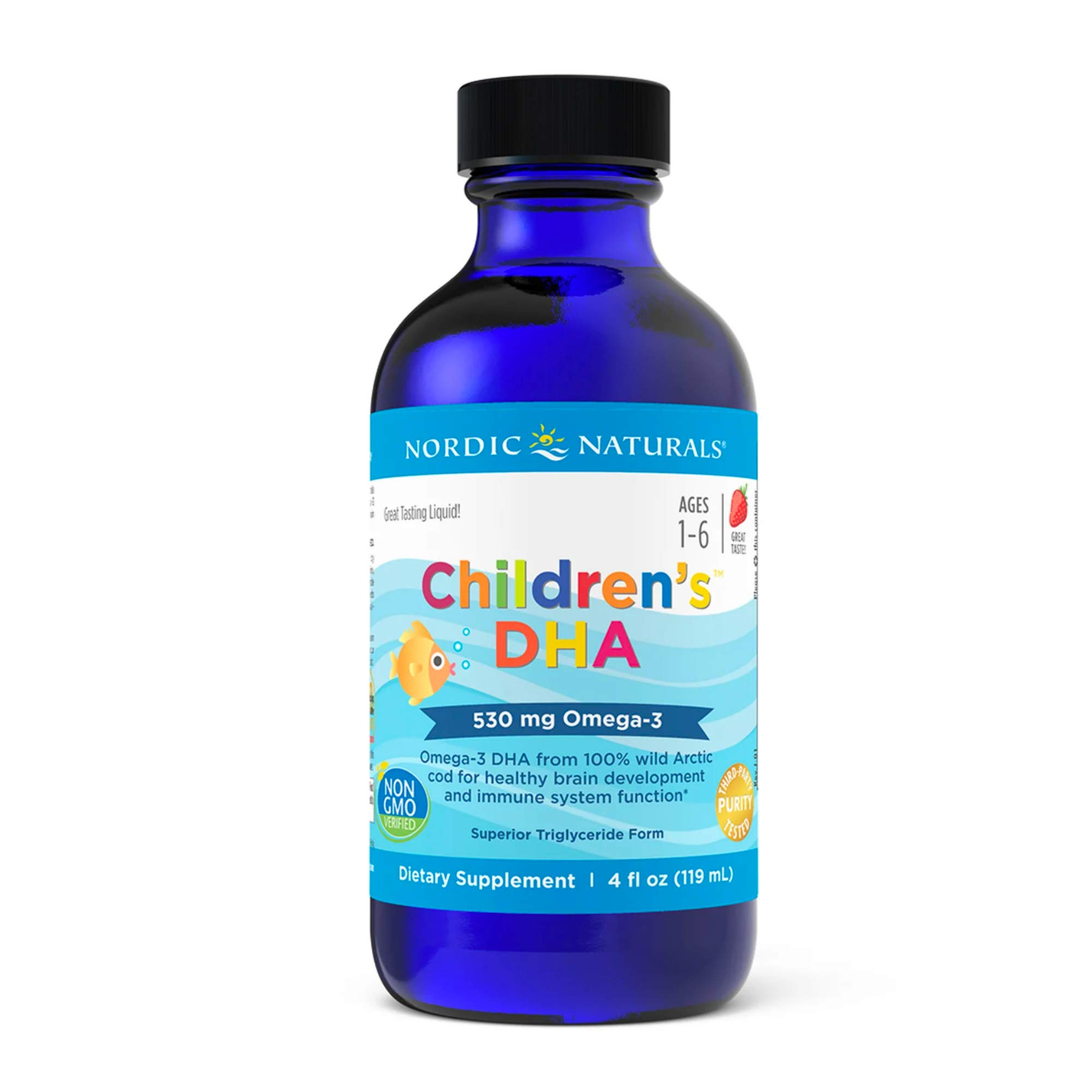 Nordic Naturals Children's DHA, Strawberry - 4 oz - 530 mg Omega-3 with EPA & DHA - Brain Development & Function - Non-GMO - 48 Servings