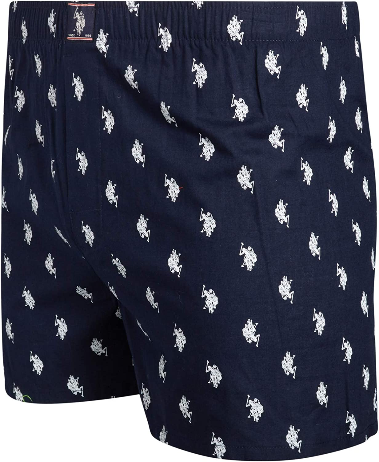 U.S Mens Woven Boxer Underwear with Functional Fly Polo Assn 8 Pack