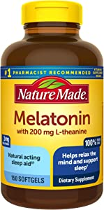 Nature Made Melatonin 3 mg with 200 mg L-theanine Softgels, 150 Count (Packaging May Vary)