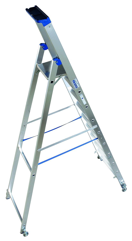 Alu-Stufenstehleiter 10 Stufen fahrbar
