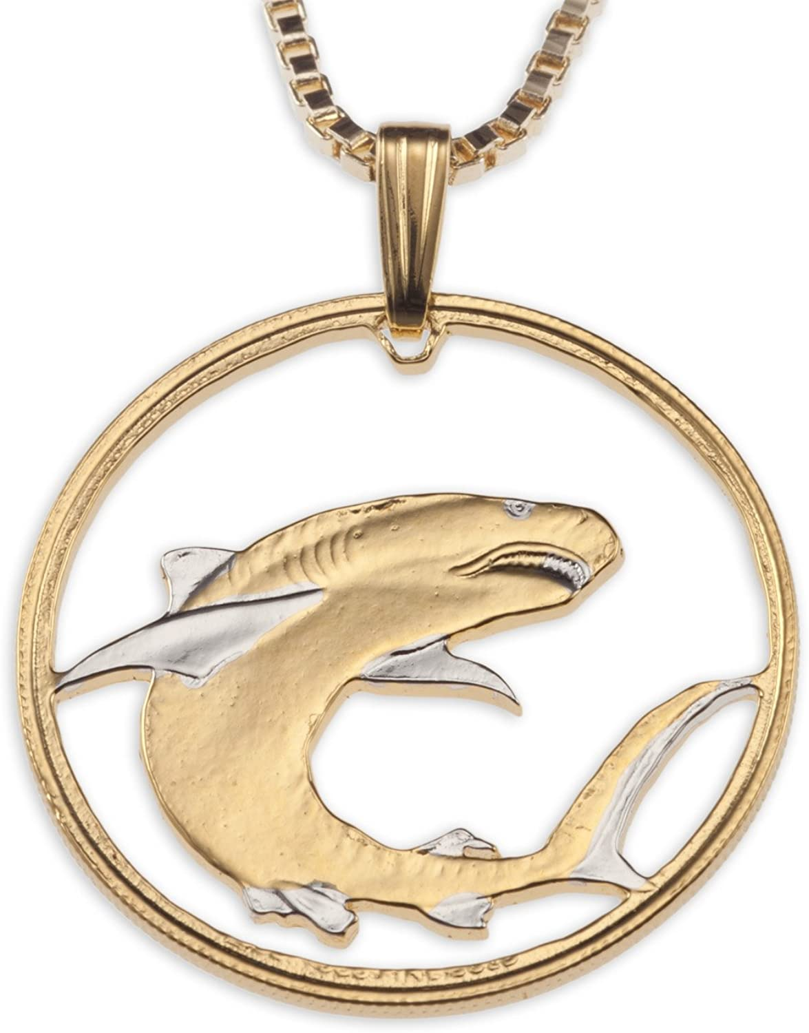 Shark Pendant & Necklace, Hand Pierced Coin from The Soloman Islands