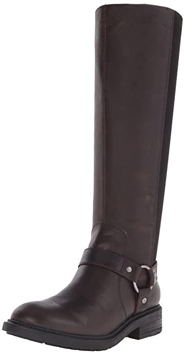 awesome NINE WEST tall brown leather double harness back zip boots 8