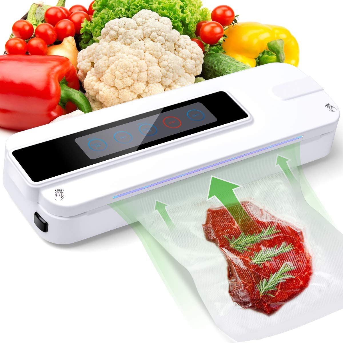 Food Vacuum SealingMachine Touch Automatic Fresh Food Sealing Machine with 10 Sealed Bags,Preserve the Freshness of Vegetables,Meat,Red Wine,Multi Portable Automatic Food Saver Machine for Home-white