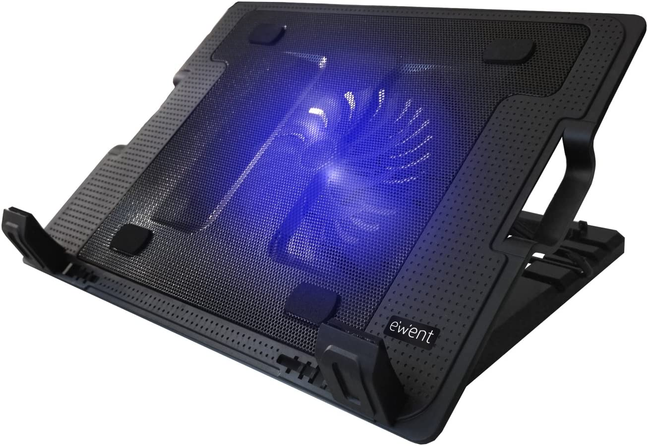 Ewent EW1258 Base de refrigeración para ordenador portátil de 12 a 17 pulgadas con 2 puertos USB, 1 ventiladores, luz LED azul, selección de angulo de vista