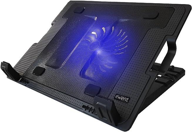 Ewent EW1258 Base de refrigeración para ordenador portátil de 12 a 17 pulgadas con 2 puertos USB, 1 ventiladores, luz LED azul, selección de angulo de vista: Amazon.es: Informática