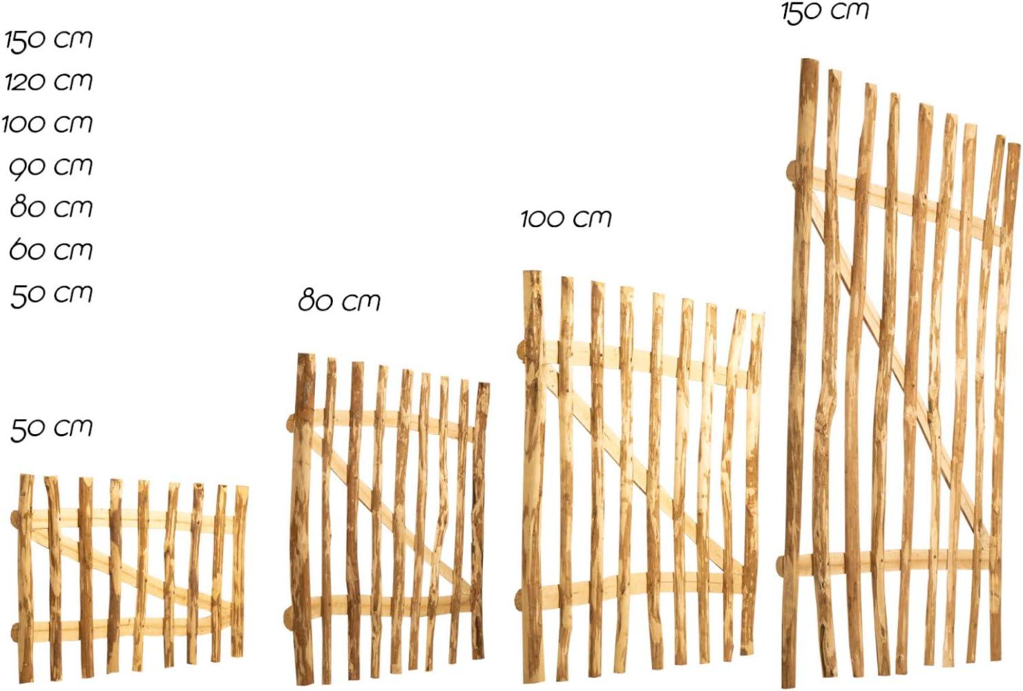 BooGardi Gartentor Haselnuss in 14 Gr/ö/ßen /• 100cm breit /• 90cm hoch /• 7-9cm Lattenabstand /• Zauntor f/ür Staketenzaun//Bauernzaun//Kastaniezaun inkl Zubeh/ör