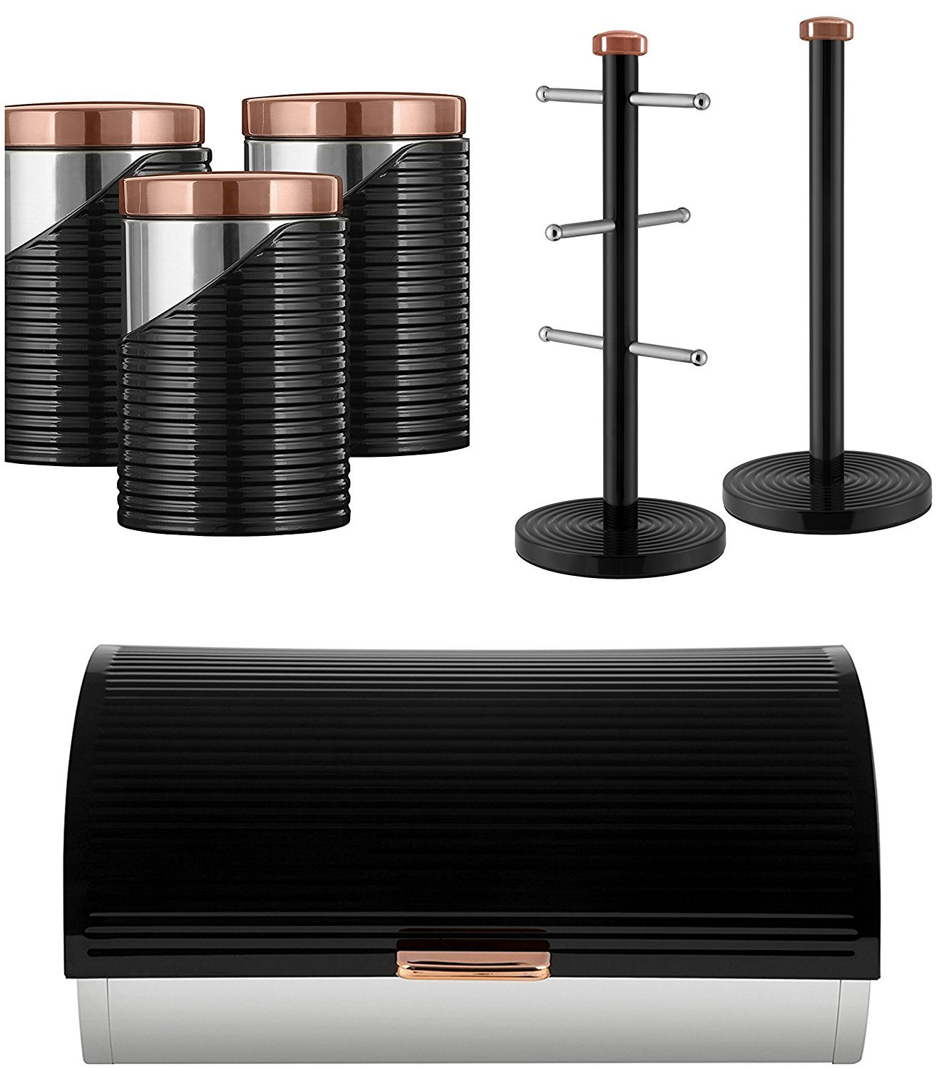 tw Set of 3 Tower Rose Gold Linear Stylish Kitchen Accessories - ROSE GOLD & BLACK Linear Bread bin, Set of 3 Canisters and Towel Pole and Mug Tree