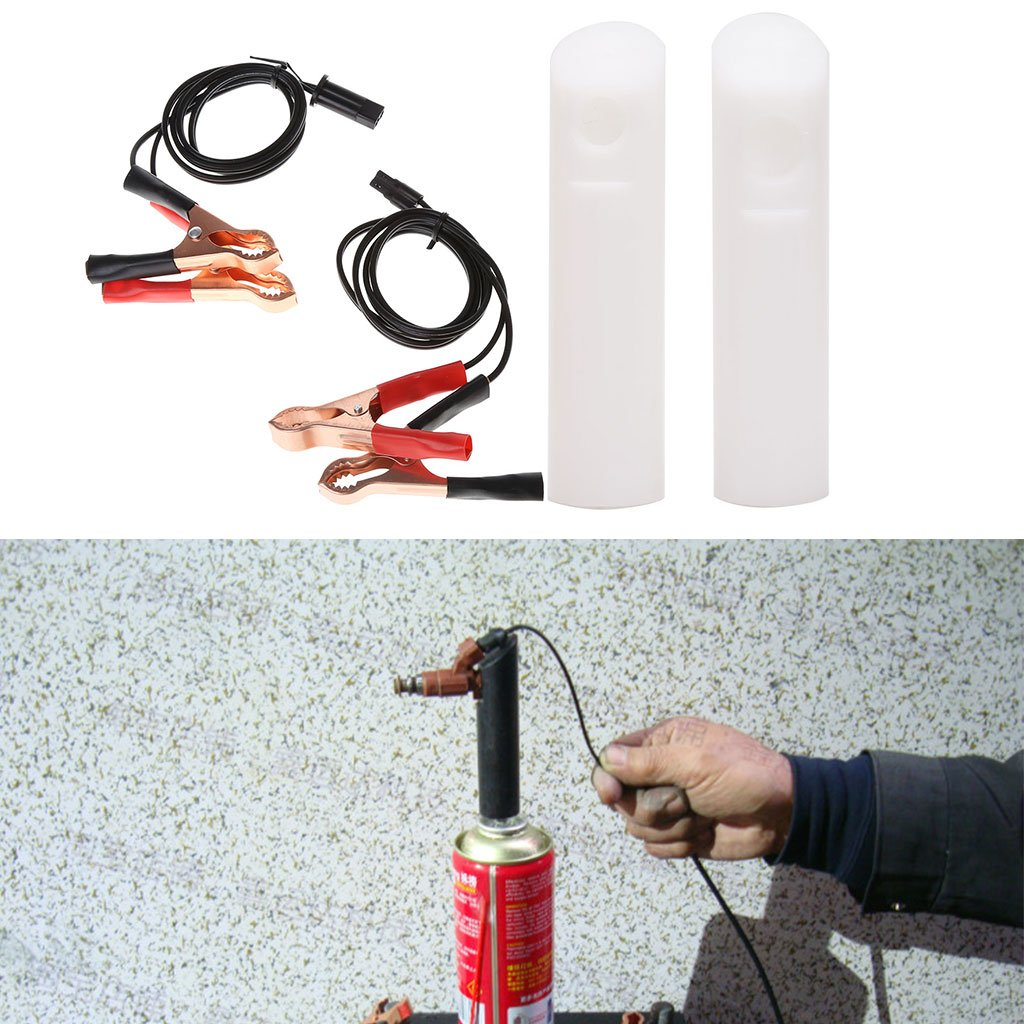 Hoiert Quality Vehicle Fuel Injector Flush Cleaner Adapter DIY Kit Car Cleaning Tool 2 Nozzles