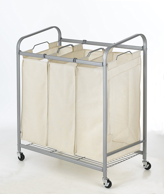 BestOffice Heavy-Duty 3-Bag Laundry Sorter Cart Hamper Organizer LS03 WS-LS03-Beige
