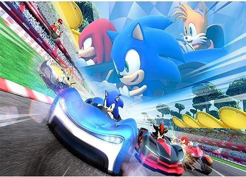 Amazon Com Photo Backdrop Vinyl 7x5 Japanese Cartoon Race Car Background Baby Shower Personalized Name Sonic The Hedgehog Birthday Backdrop Wall Decor Camera Photo