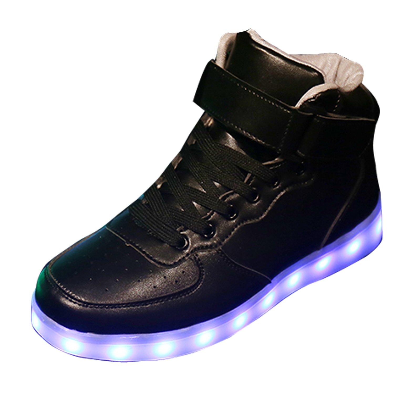 Gaorui New Women LED Light Luminous Sneaker High Top Lovers Athletic Shoes USB Charge B01LA5U260 8.5 B(M) US|Black