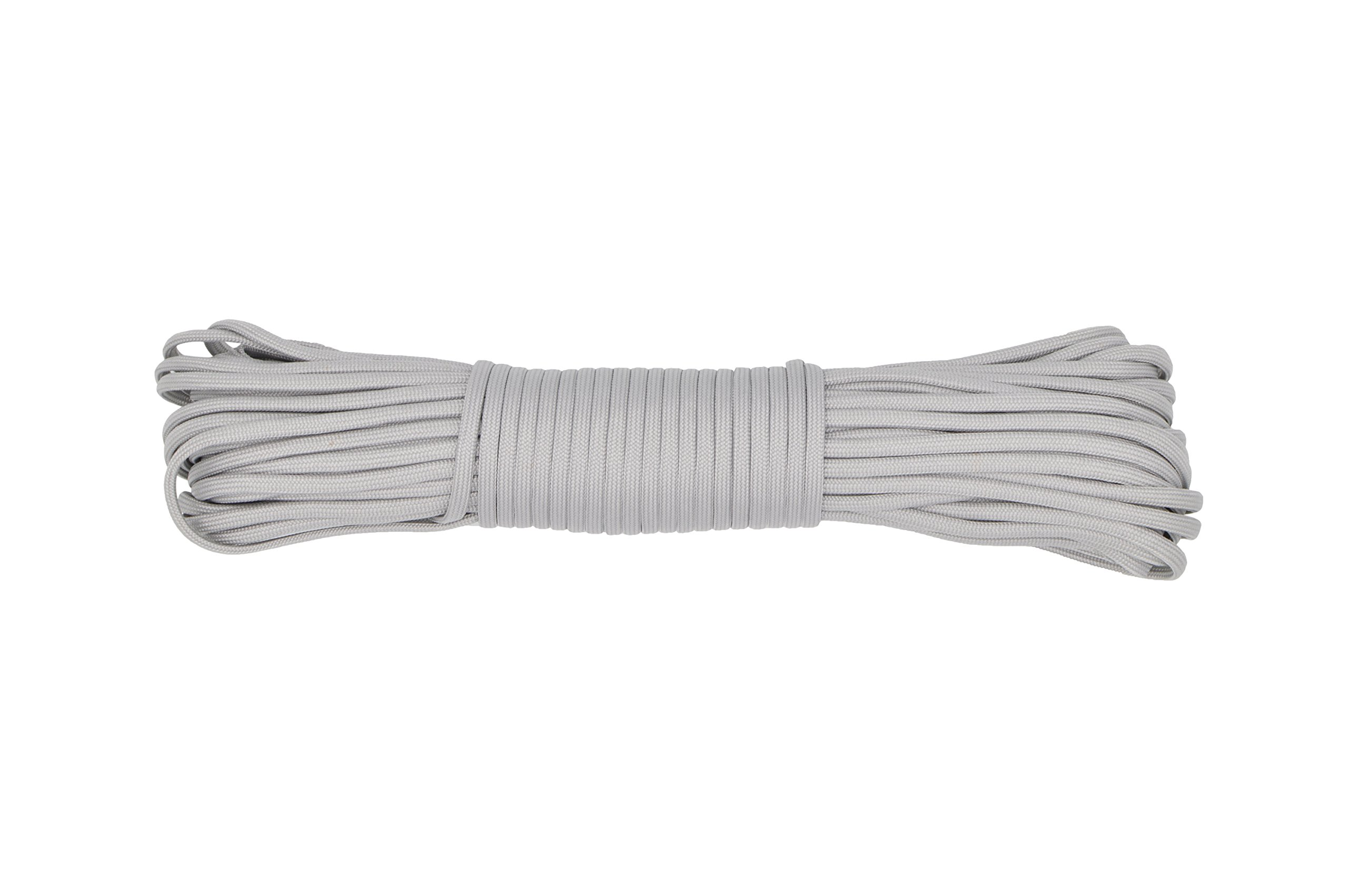 Paracord Rope 550 Type III Paracord - Parachute Cord - 550lb Tensile Strength - 100% Nylon - Made In The USA (Silver Grey, 100 Feet)