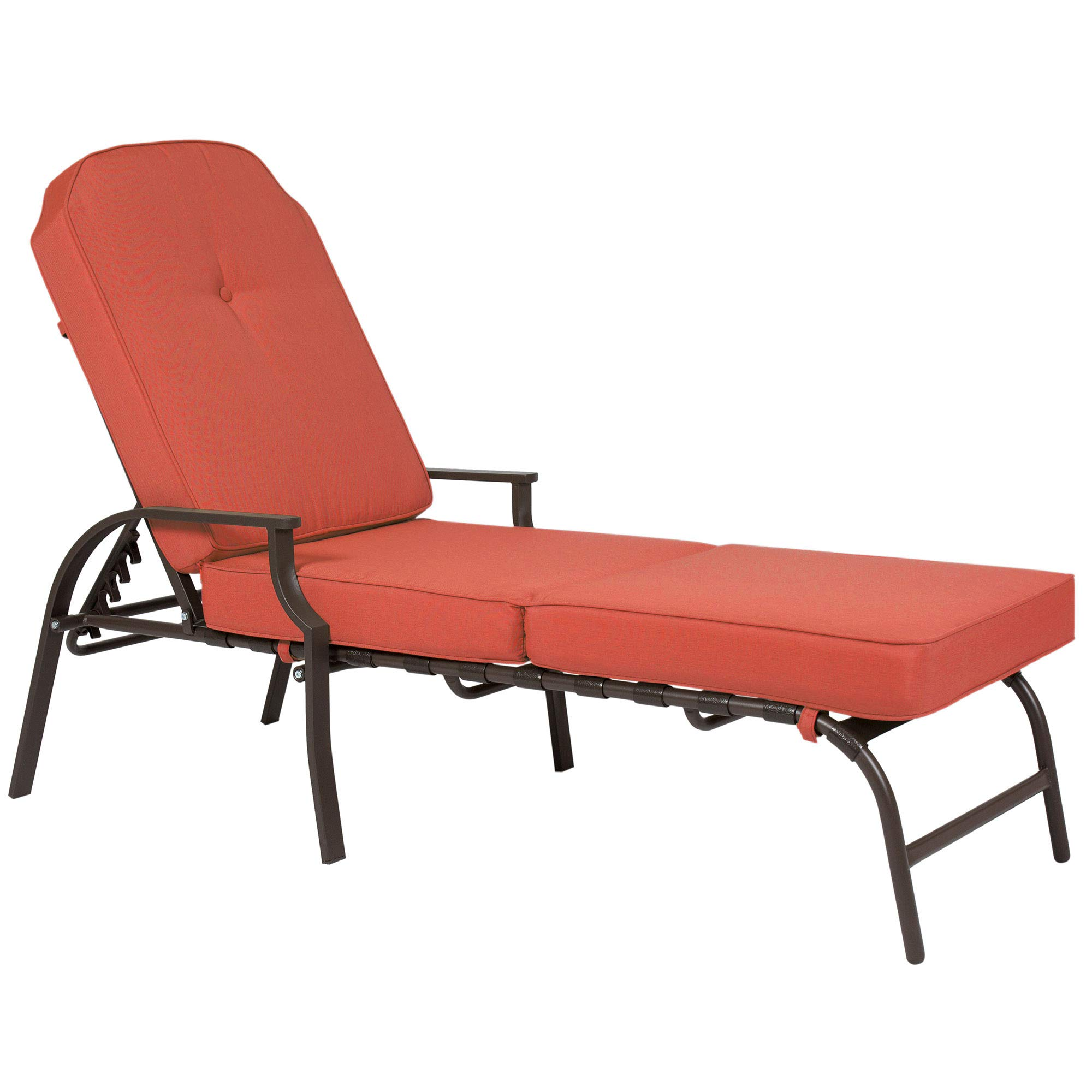Best Choice Products Outdoor Chaise Lounge Chair W/ Cushion Pool Patio Furniture Rustic Red by Best Choice Products