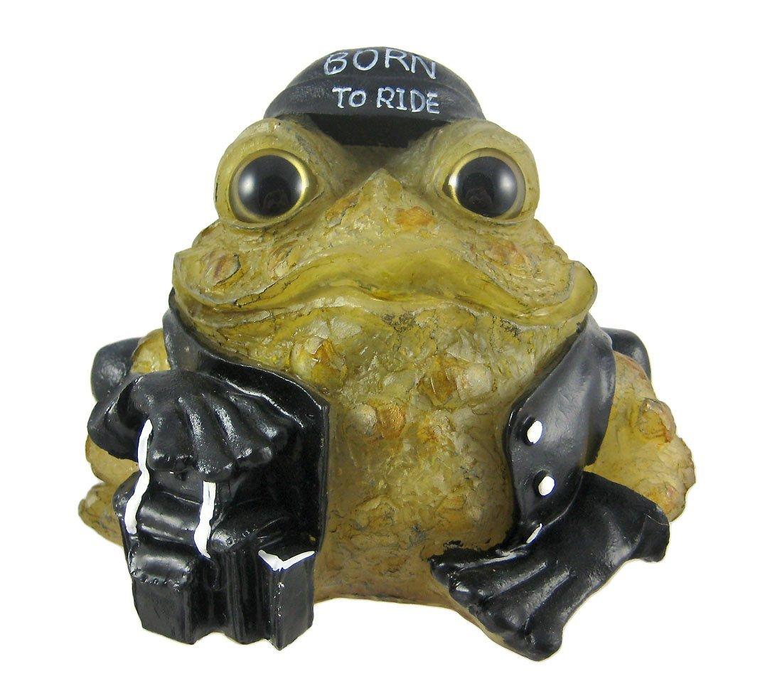 6 Inch Light Green Toad Hollow Biker Frog Solar Light Garden Decor by Toad Hollow