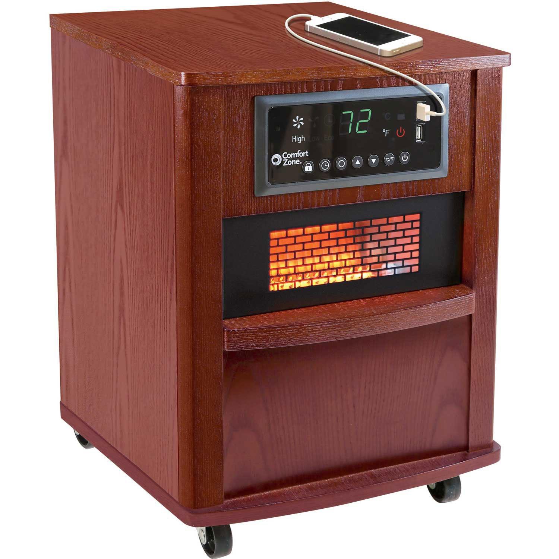 Comfort Zone CZ2062C Infrared Quartz Wood Cabinet Heater, 20'', Cherry
