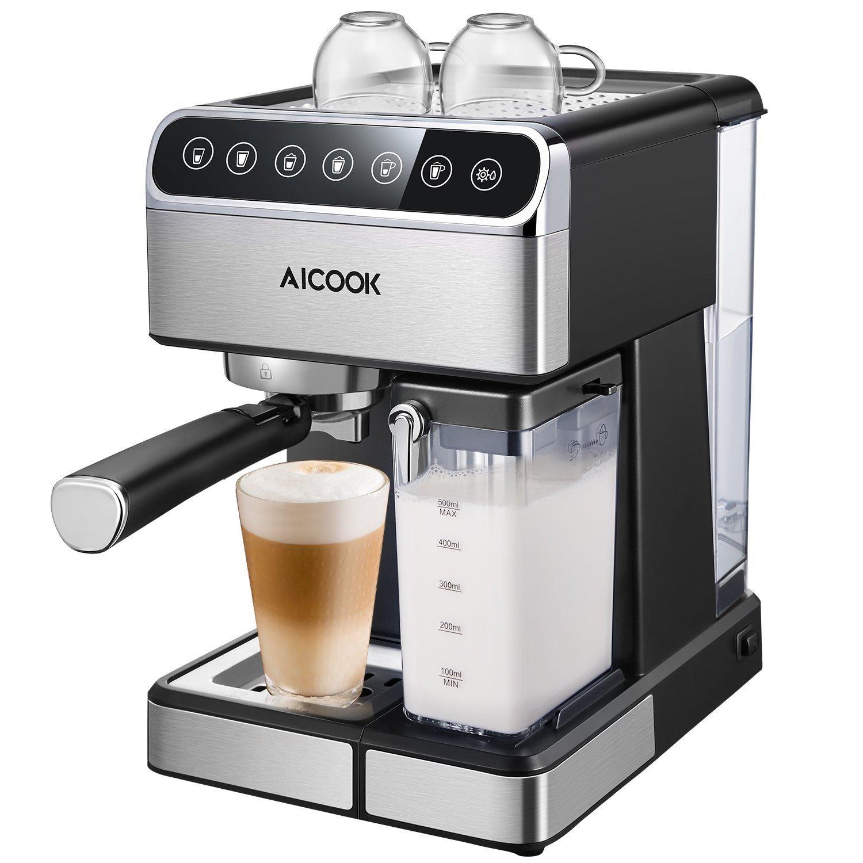 e602282897de9e Cafetiere Aicook, Cafetiere automatique et Cafetiere expresso avec écran  numérique et Cappuccinatore, 15 bar