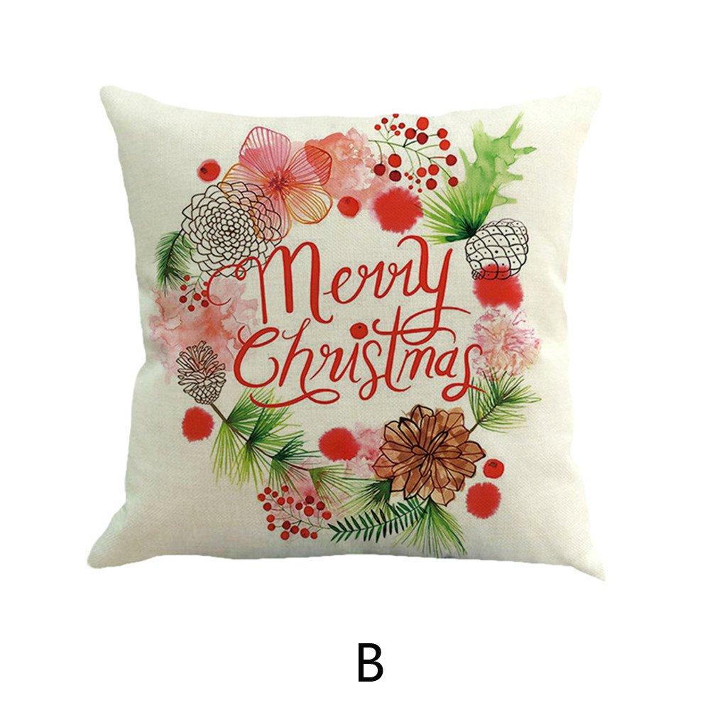 Happy Christmas Kissenbez/üge Leinen Sofa Home Decor Kissenbezug DOGZI Kissen Bettw/äsche Weihnachten Sofa Dekokissen Kissen Weihnachten