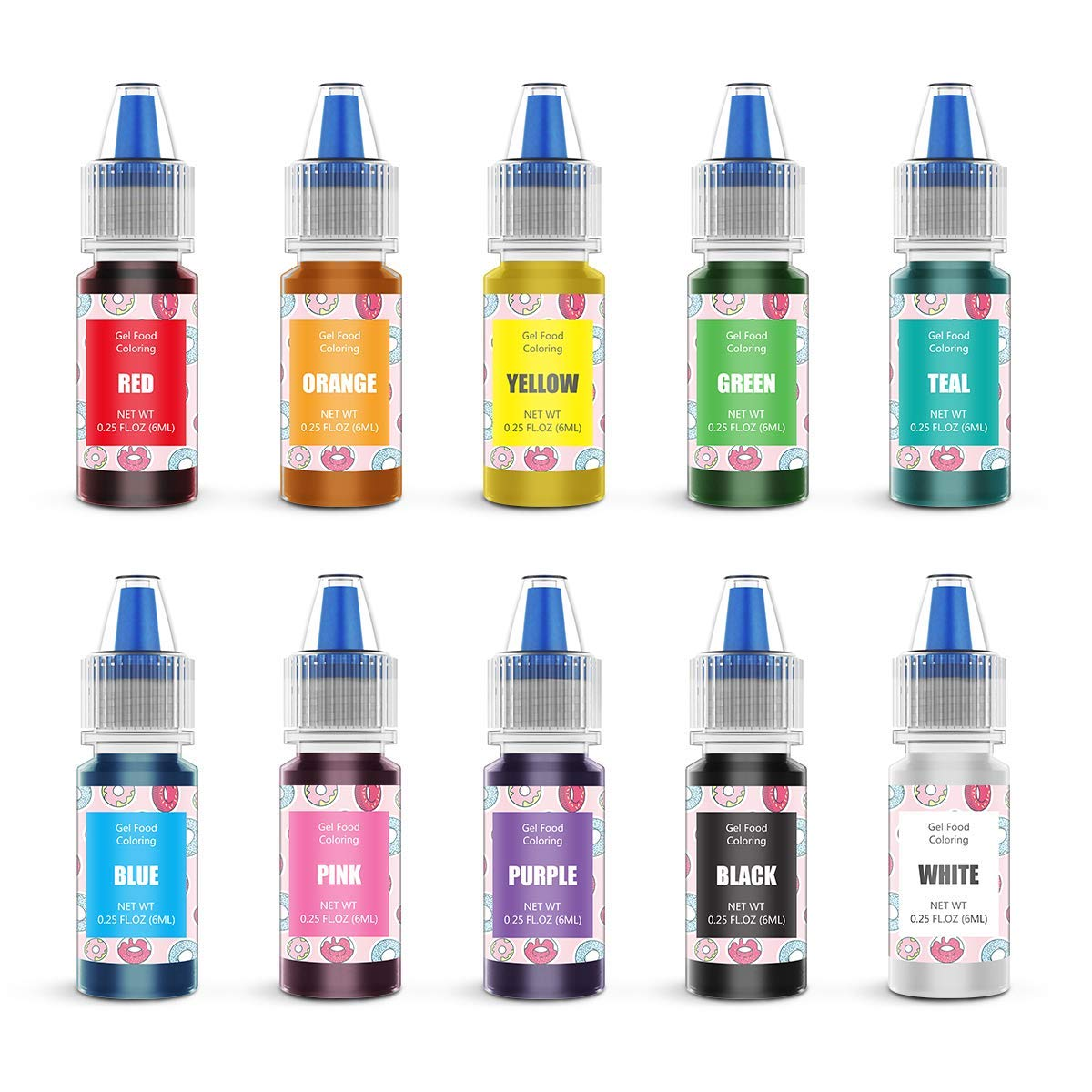 Gel Food Coloring 10 Colors Set - Jelife Gel Based Flavorless Edible Food Color Dye Vibrant Concentrated Neon Icing Colors for Kids Cake Decorating Baking Macaron Frosting Fondant Cookie (6ml/Bottles)
