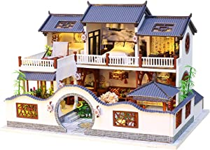 Spilay DIY Dollhouse Miniature with Wooden Furniture Kit,Handmade Mini Home Craft Model Chinese Style Plus with LED & Music Box,1:24 Scale Creative Doll House Toys for Teens Adult Gift (Ancient Dream)