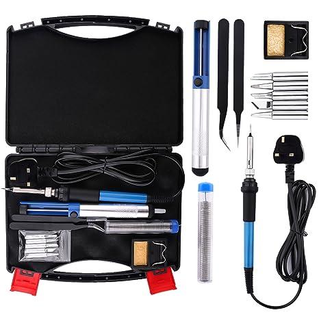 Housolution Soldador Electrónica de Estaño - 60W 250V Kit de Soldador Eléctrico con Plancha de Soldadura