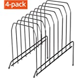 DESIGNA 8 Section Incline Sorter, Multi Step Wire File Desktop Organizer Black 4-Pack