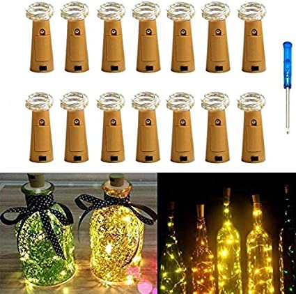 Paquete de 14 botellas de iluminación de corcho 20 micro LED 2M ...