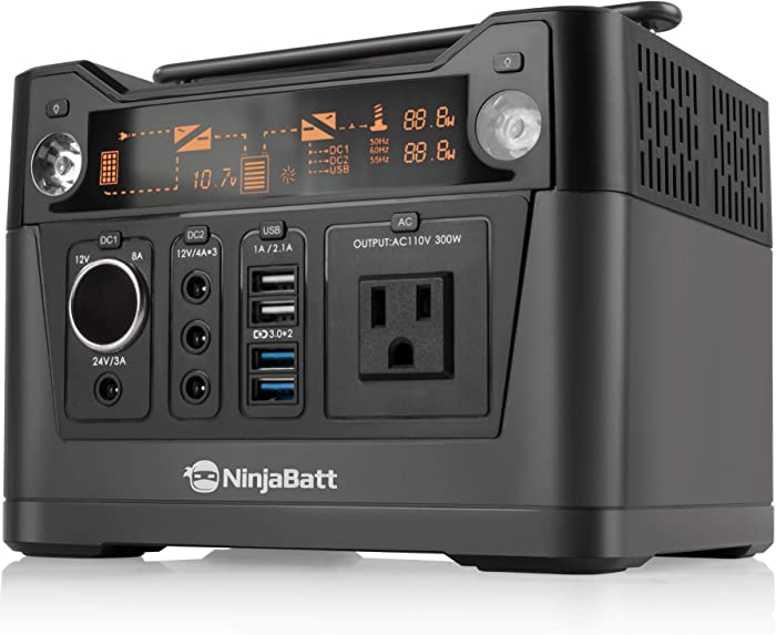 NinjaBatt Portable Power Station with 288Wh Lithium Battery, 110V/300W Pure Sine Wave AC Outlet, QC3.0 USB, 12V/24V DC & LED Flashlight, Power Supply for Home Outdoor Camping Fishing Emergencies CPAP