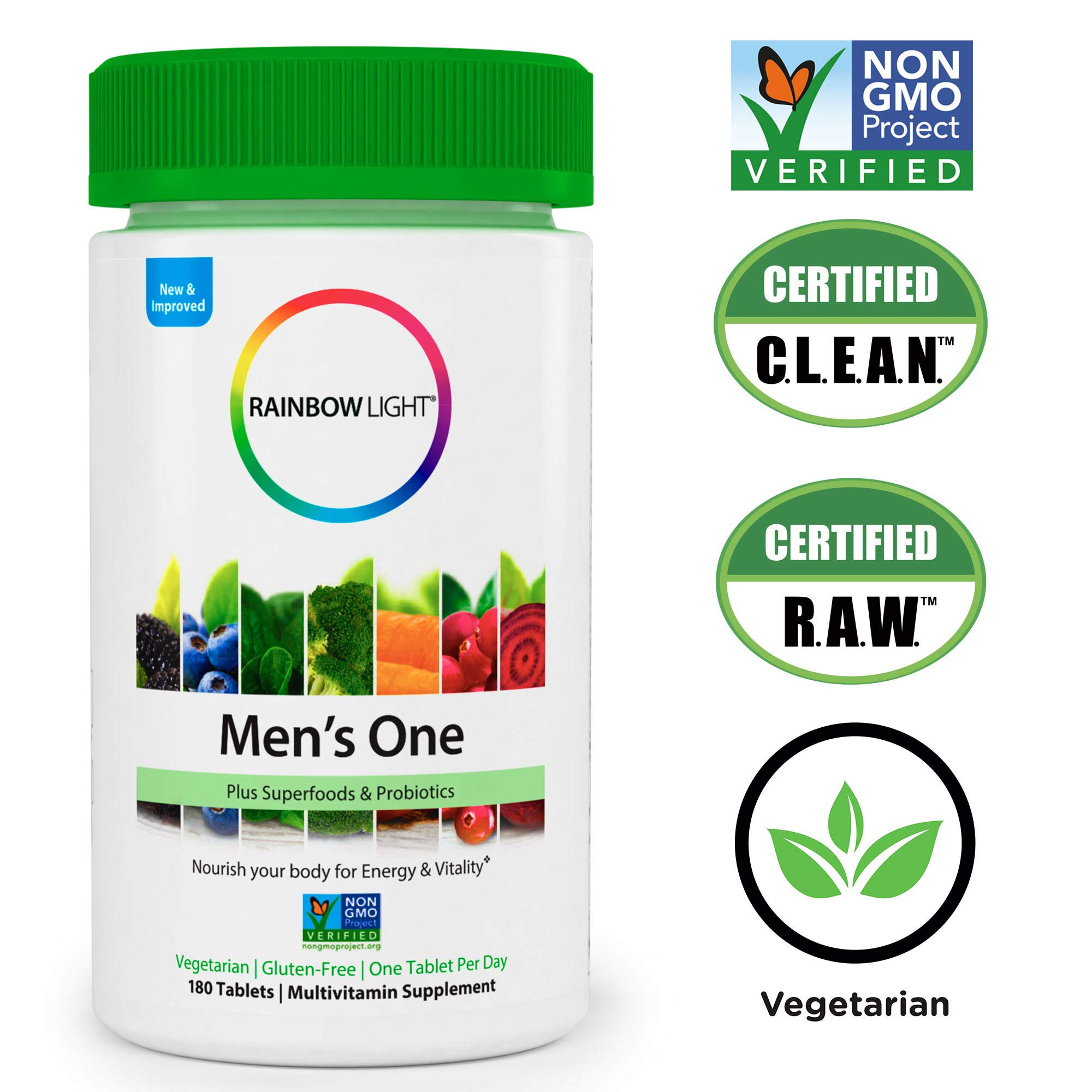 Rainbow Light - Men's One Multivitamin Non-GMO Bonus Size - Plus Superfoods, Probiotics, and Plant-Source Enzymes; Vegetarian and Gluten Free - 180 Tablets by Rainbow Light (Image #5)