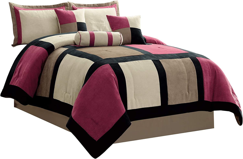 7 Piece Leaf/'s Micro Suede Beige Tan Patchwork Comforter Set Queen Size