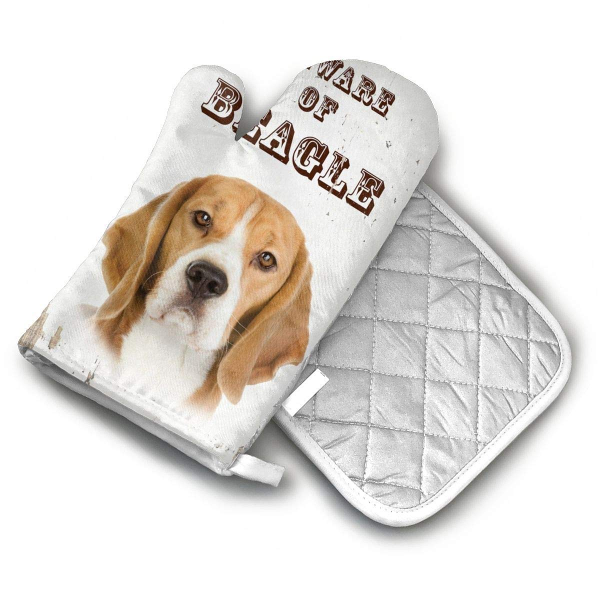 AISDHAJKSD Beware of Beagle Dog Premium Terylene/Nylon Oven Mitts and Pot Mat,Pot Mat/Hot Pads, Heat Resistant Gloves BBQ Kitchen