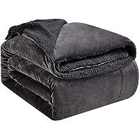 Hansleep Sherpa Fleece Deken Kingsize Donkergrijs Fluffy Ultrazachte & Omkeerbaar Beddekens - voor Sofa en Bank (130 x…