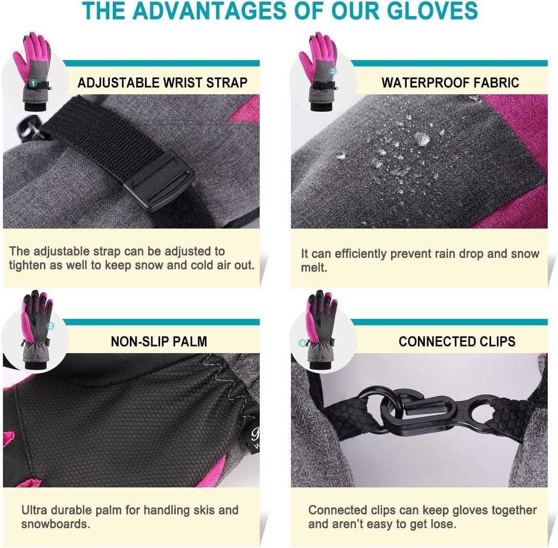 Gris et Rose, S Snowboard et Sports en Plein air Femmes 3M Thinsulate Touchscreen Chaud Imperm/éable Coupe-Vent Gants dhiver adapt/és Ski Andake Gants de Ski /équitation