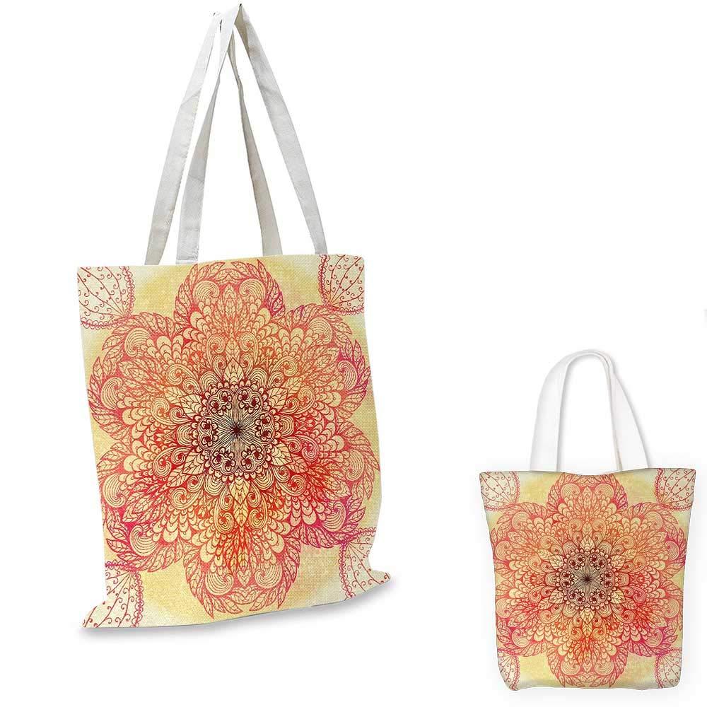 14x16-11 Red Mandala canvas messenger bag Magical Spiritual Hand Drawn Bloom with Swirled Petals Oriental Retro canvas beach bag Pink Yellow Burgundy