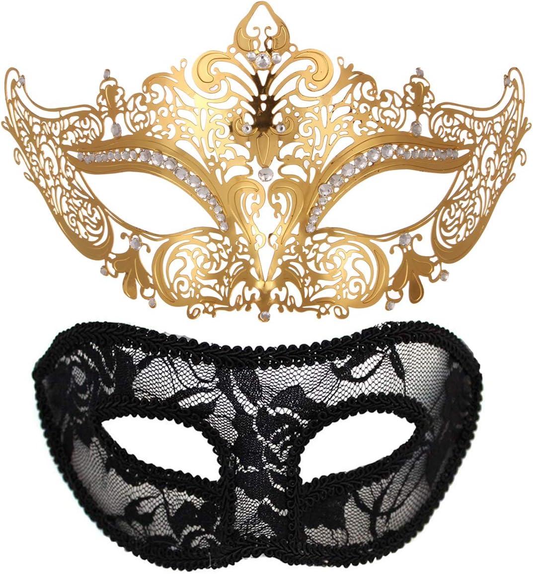 Rose Gold  His Her Metal Filigree /& Carnival Splendid Mask