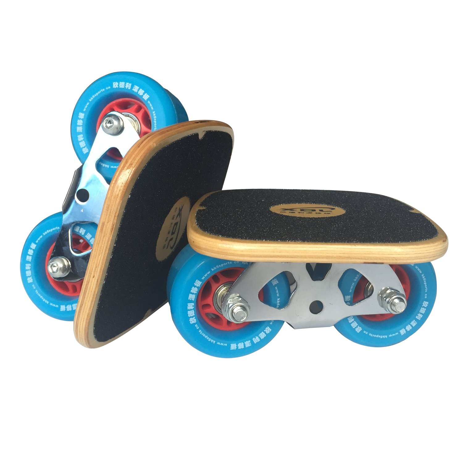 XDL Roller Road Drift Skate Plates with Cool Maple Deck (Blue Wheels)