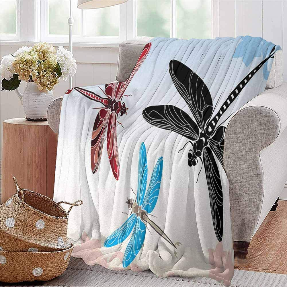 KFUTMD Boys Throw Blanket Exotic Dragonflies Flying in Cloud Sky Animal Wing Nature Illustration Black Blue Pale Pink Dorm Bed Baby Cot Traveling Picnic W59 xL71