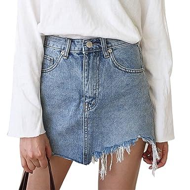 big sale eac78 a0714 ZKOO Minigonna Donna Gonna Jeans Elasticizzata Sfrangiata Asimmetrica Nuova