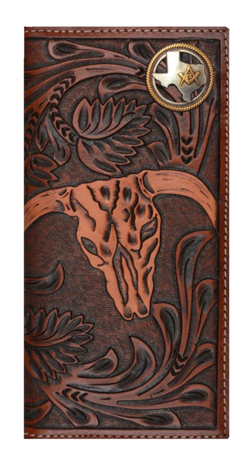 Custom 3D Belt Company New Texas Mason Long Rodeo Checkbook Brown and Tan Cow Skull Wallet Long